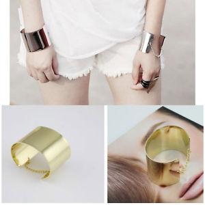 Fashion Mirrored Metallic Gold Tone Chained Back Wide Bracelet Bangle Cuff | eBay