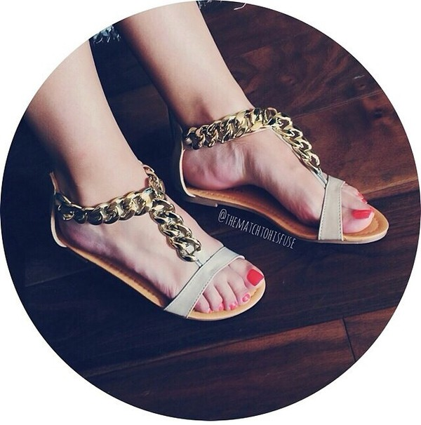 shoes sandals gold chain sandals gold chain shoes gold chain white sandals white