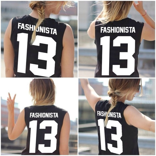 tank top fashionista 13 13 fashion black white letters gril blond