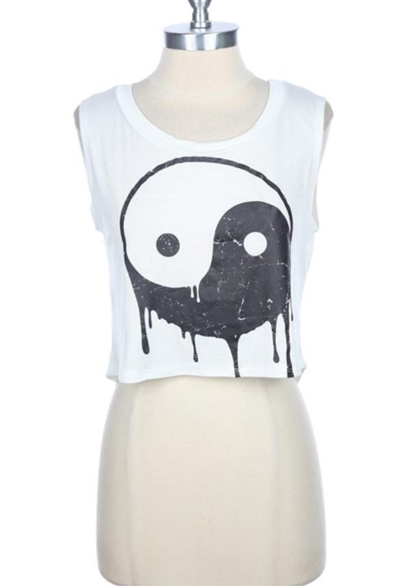 shirt yin yang yin yang shirt white crop tops high top High waisted shorts high waisted yin yang black white