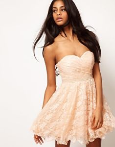Opulence England Lace Bandeau Prom Party Dress with Pearl Waistband 10 38 £139 | eBay