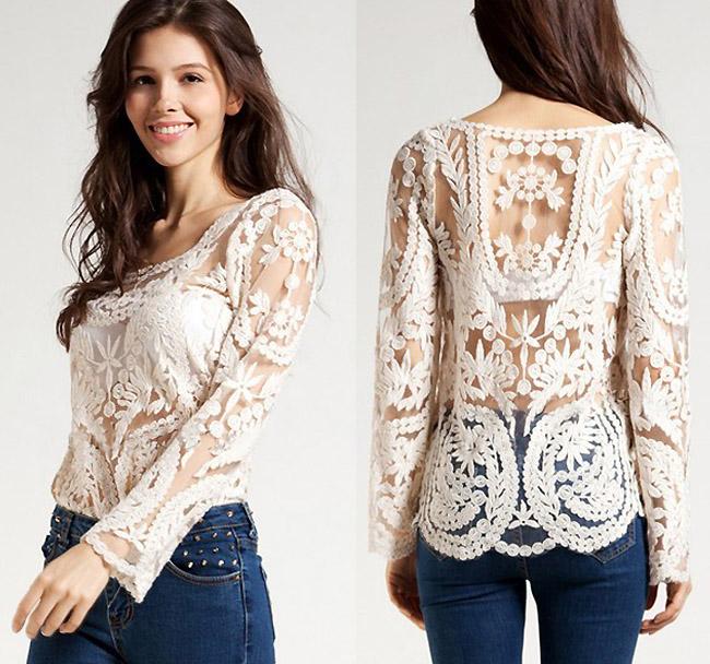 Hot Women Semi Sexy Sheer Sleeve Embroidery Floral Lace Crochet Tee Top Tshirt J | eBay