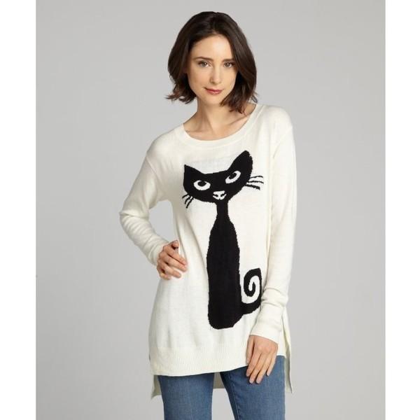 Cliche Ivory Ribbed Cuff Cat Sweater - Cliché - Polyvore