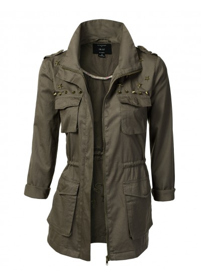 Jtomson - Freedom of Fashion - Womens Trendy Camo Military Cotton Drawstring Jacket with Studs