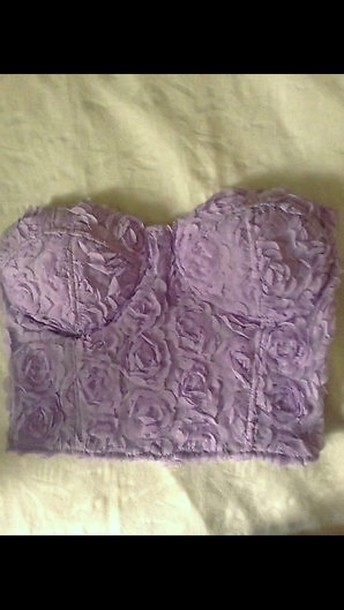 top purple lilac flowers prom dress roses crop tops