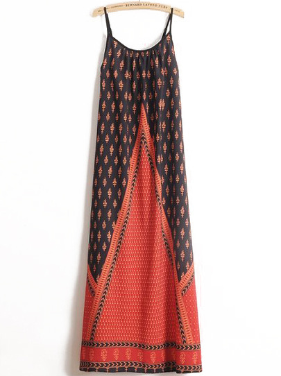 Red Spaghetti Strap Vintage Floral Dress - Sheinside.com