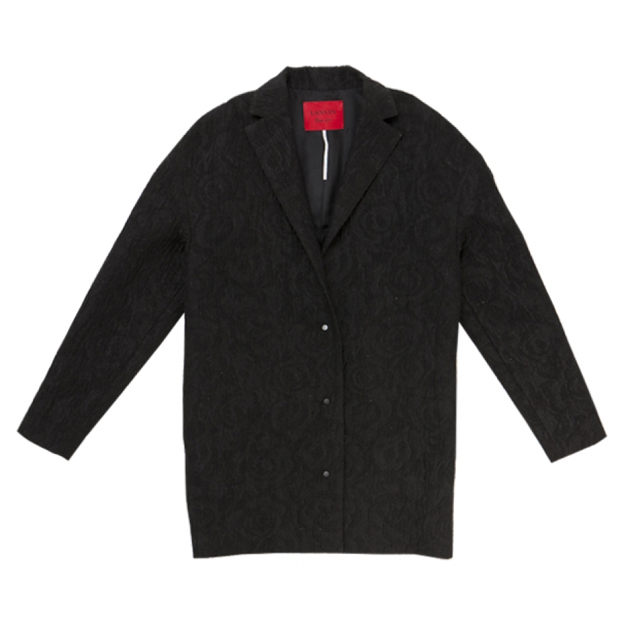 Short, waffle effect, black coat LANVIN Black size 44 FR in Other All seasons - 645088