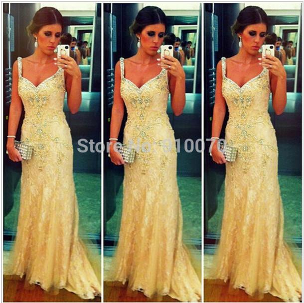 dress prom dress evening dress v-neck prom dress long prom dress champange prom dress