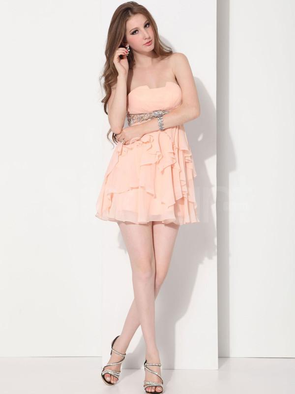dress chiffon pearl pink sweetheart sleeveless beadings