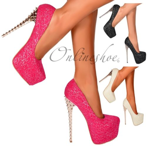 Ladies Black Silver Chrome Spiked Studded High Heel Stiletto Prom Party Shoes   eBay