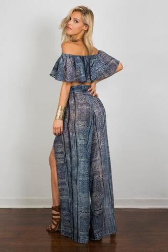 pants blue bottoms print bikiniluxe