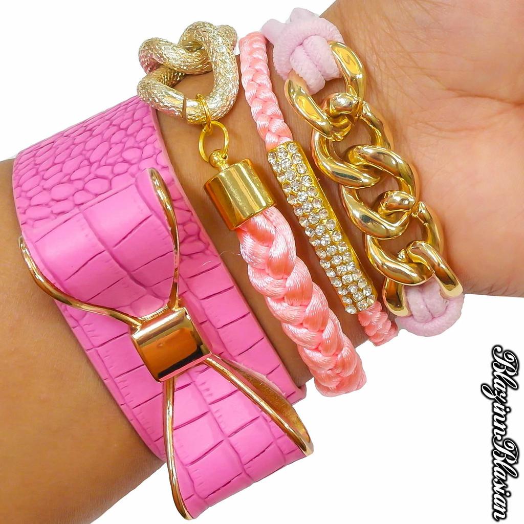 Pink Leather Bow Bracelet Set - BlazinnBlasian