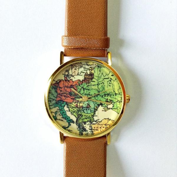 jewels map watch map print watch watch jewelry fashion style accessories leather watch