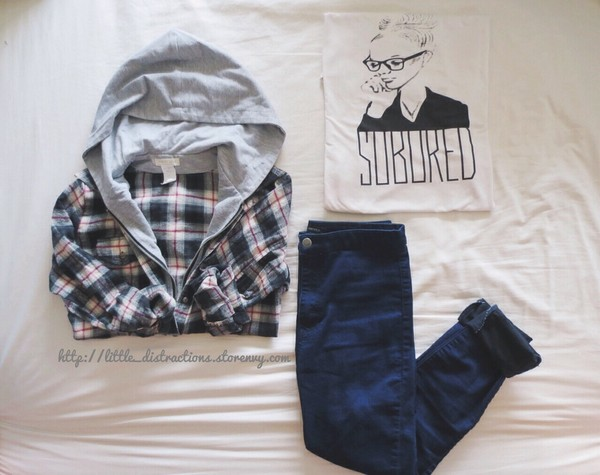 jacket flannel flannel shirt grey hoodie grey t-shirt white checkered checkered shirt jeans