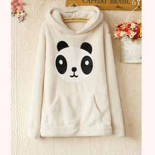 Animal-Appliqué Fleece Hooded Pullover - Ringnor | YESSTYLE
