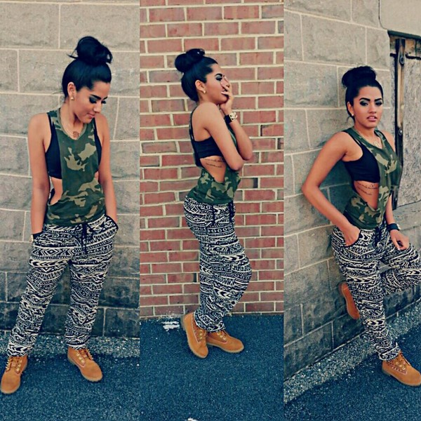 tank top military style pants printed pants flowy pants stay fit black and white top army top black