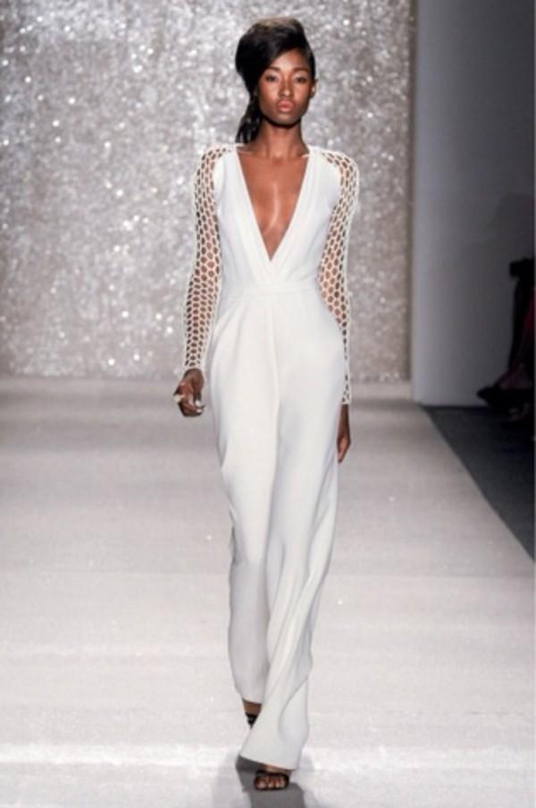 All White Dressy Jumpsuits Fashion Ql
