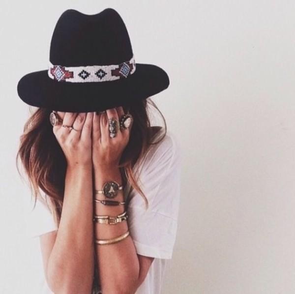 hat black trilby summer indie vintage hat stylish aztec cute hats vintage tribal pattern cute hat hippie boho boho Boho hat ring bracelets jewels black hat jewelry silver bracelet hair accessory accessories all the rings Ebonylace.net