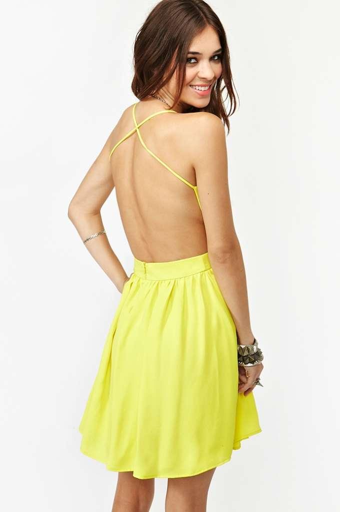 Crossed Chiffon Dress - Yellow | Shop Dresses at Nasty Gal