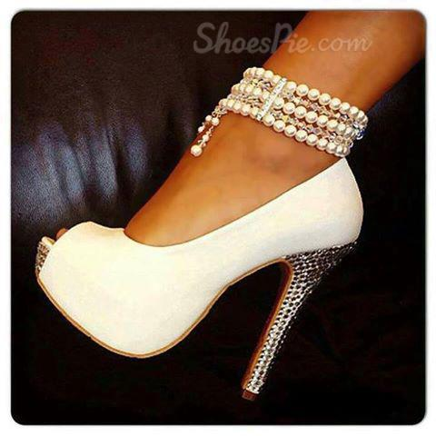 Elegant White Peep Toe Pearl Ankle Strap High Heel Shoes