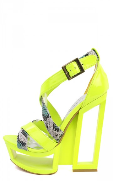 C Label Dolce-1A Neon Yellow Strappy Snake Cut Out Platform Heels and Shop Shoes at MakeMeChic.com