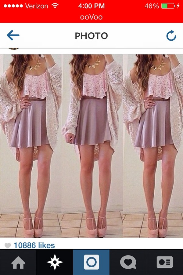 t-shirt crop tops pink skirt cardigan outfit necklace tank top blouse jacket shoes jewels sweater shirt