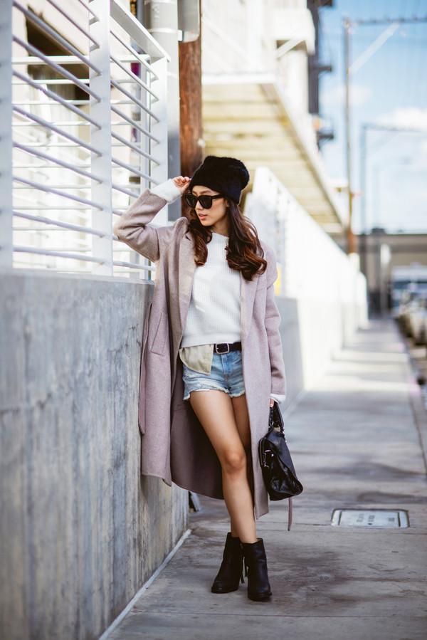 neon blush coat sweater blouse shorts bag shoes belt hat sunglasses