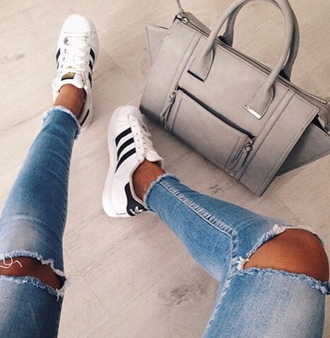 bag grey sweater jeans celine taupe dress chic luxe style trendy fashion chill sweater adidas wings adidas adidas originals black and white destroyed skinny jeans ripped jeans shoes hole blue grey skinny jeans denim ripped jacket brown grey brown handbag beautiful