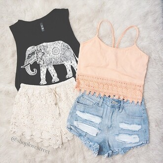 tank top cute hipster top cool swag sweatshirt storm trooper amazing shirt shorts skirt pink crop tops indie hippie elephant black t-shirt crop indian chalk tanktop. elefant vest elephant top lace shorts outfit lace top blouse fringe shorts croche orange tank top cute shirt zalm beautiful girly girly wishlist free vibrationz tumblr teenagers summer summer outfits pink top denim shorts lace floral ripped denim elegant