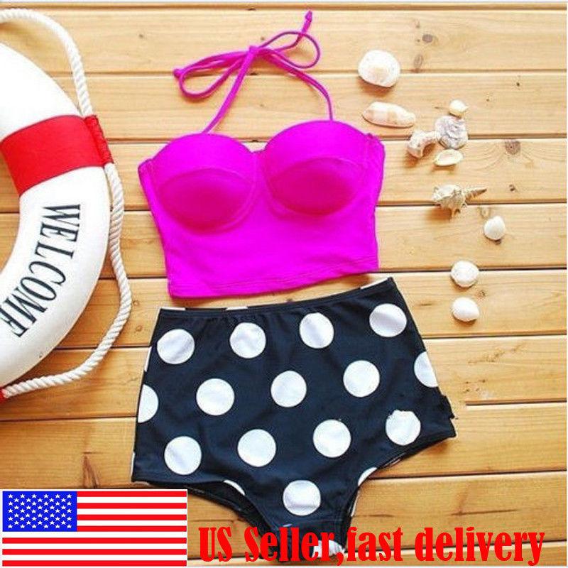 Retro High Waist Bottom Push Up Bandeau Bikini Set Sexy Pinup Swimsuits Swimwear   eBay