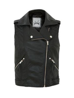 Black Leather-Look Sleeveless Biker Jacket