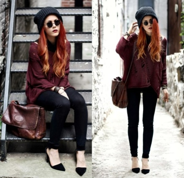 sweater punk rock cool grunge rock chic sweet chill amazing distressed sweater knitted cardigan shoes bag