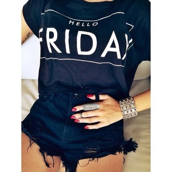 t-shirt jewels shorts shirt black white t- shirt cute friday logo logo shirts hello fashion