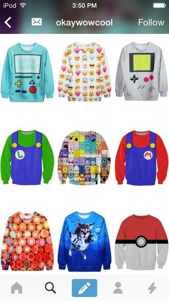 sweater sweatshirt games fashion mario emoji print pokemon cats