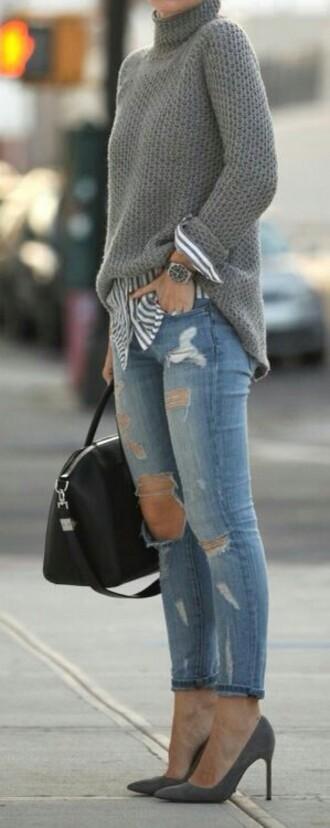 shoes escarpin gris sweater pull laine