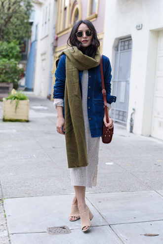 the fancy pants report blogger sweater dress scarf sunglasses jacket bag denim jacket shoulder bag knitted dress mules