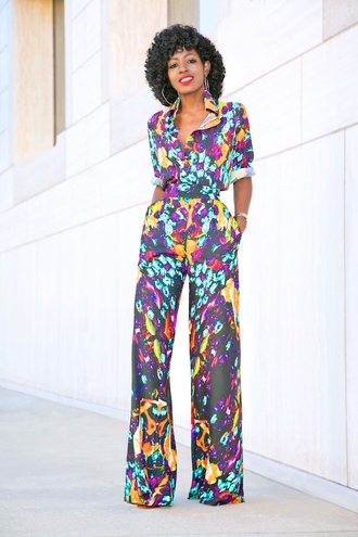 blogger top pants shoes jumpsuit multicolor