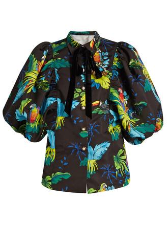 jacket tropical print black
