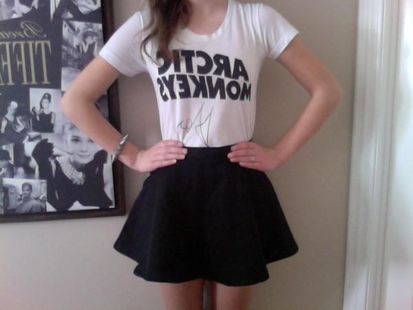 skirt arctic monkeys mini skirt vintage black shirt