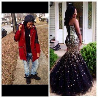 dress fishtail mermaid prom dress sparkly dress black