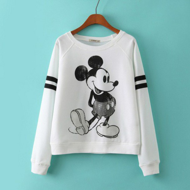 sweater mickey mouse shirt micky mouse sweater top white sweater disney