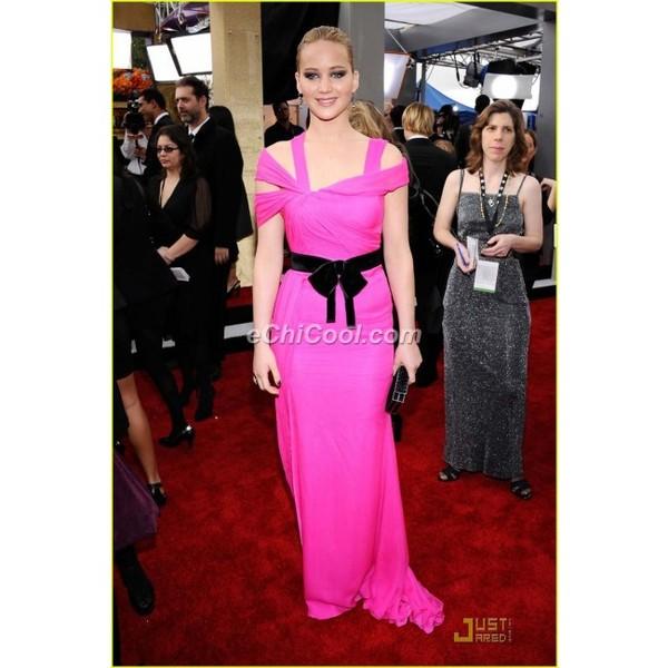 dress jennifer lawrence long dress celebrity style neon pink dress evening dress