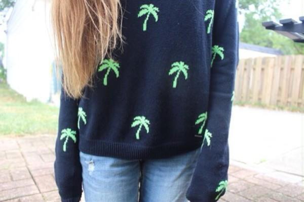 sweater black palm tree print
