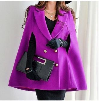 jacket capelett coat classy ineedthese winter jacket cool chic gold cape fashion lovely pepa poncho purple