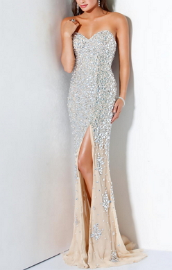 Strapless Cystal Encrusted Beautiful Long Gown - Juicy Wardrobe