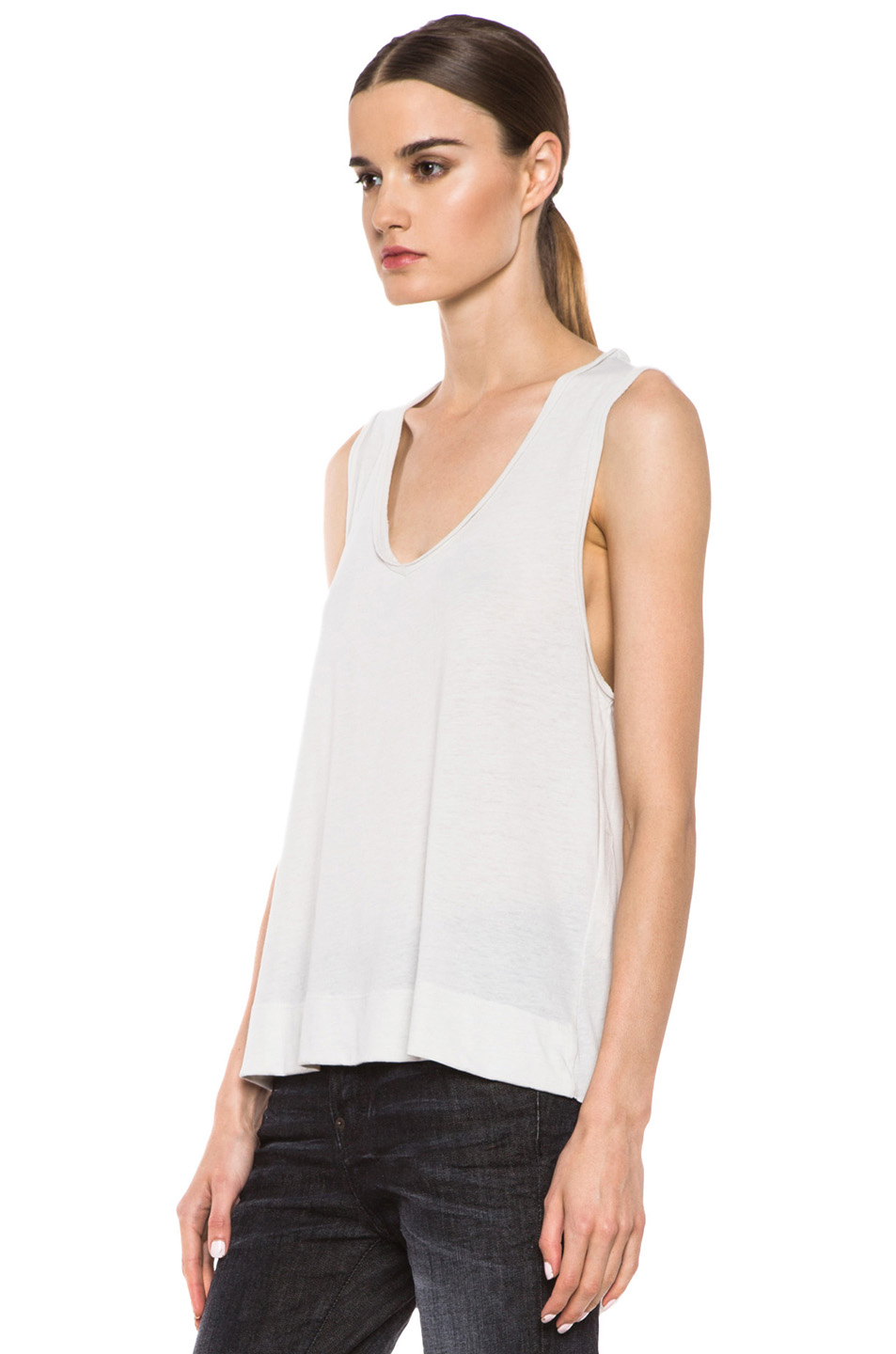 Raquel Allegra|Deconstructed Jersey V Tee in Dirty White