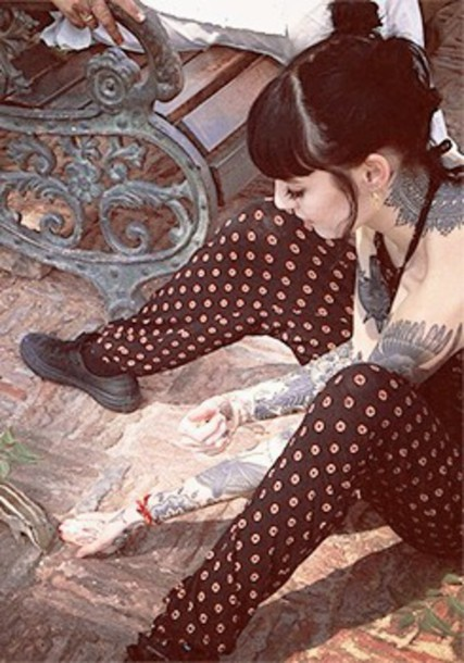 tattoo hannah pixie snowdon printed pants polka dots pajamas