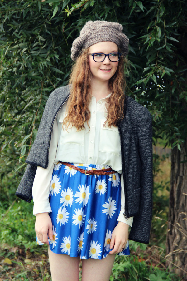 skirt romwe blue daisy