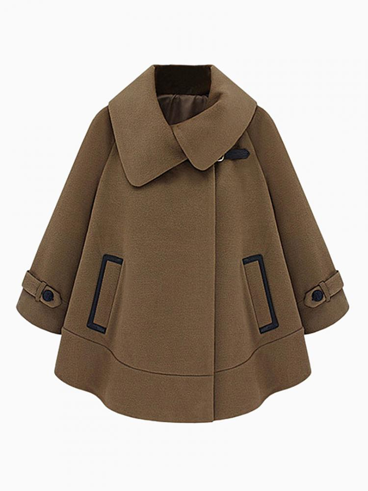 Cape Coat With Leather Look Pocket Detail | Choies