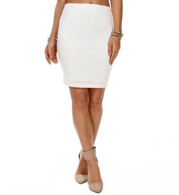 White Illusion Stripe Pencil Skirt